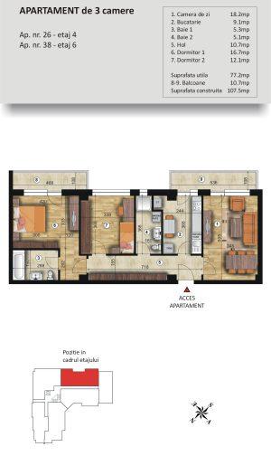 VSC Residence - Apartamente noi Pitesti - 0744 673 293 - Apartament 3 camere