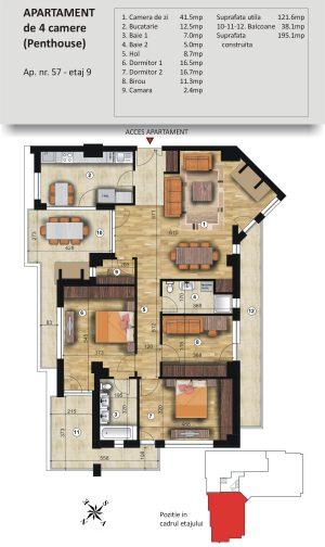 VSC Residence - Apartamente noi Pitesti - 0744 673 293 - Apartament 4 camere Penthouse